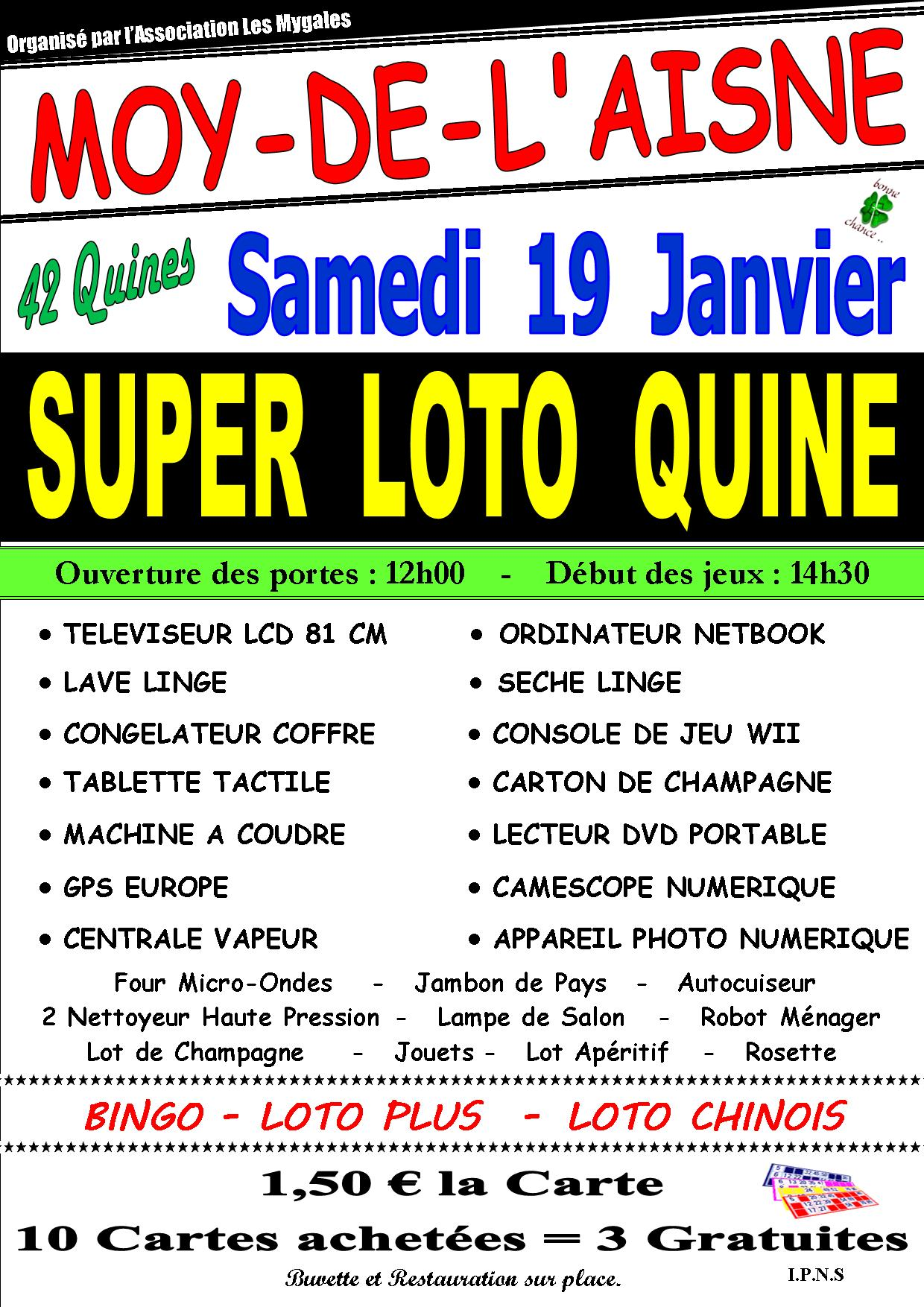 super loto quine moy de l 39 aisne samedi 19 janvier 2013. Black Bedroom Furniture Sets. Home Design Ideas